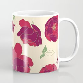 English Roses in Red and Cream Coffee Mug