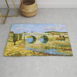 Classical Masterpiece 'Bridge Over the Stour'' by Frederick Childe Hassam Rug