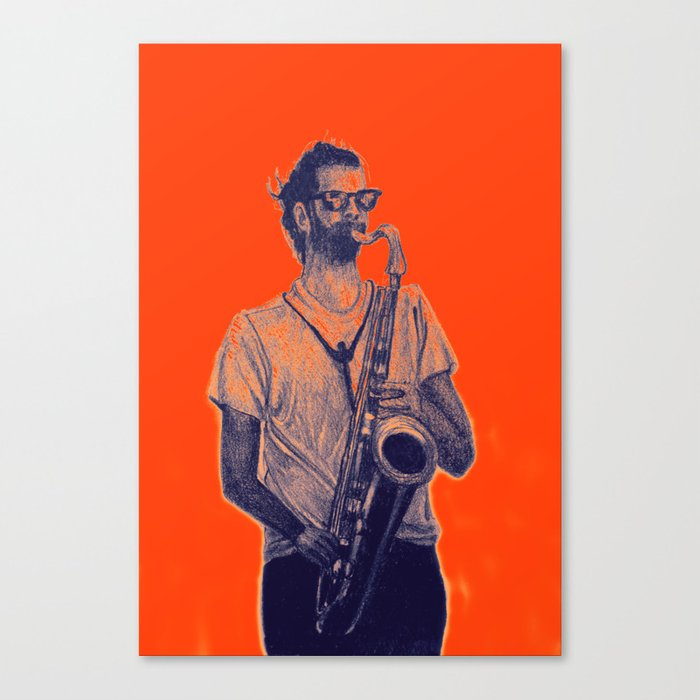 Romantic saxophone performer. Drawing of Street Musician. Illustration Canvas Print