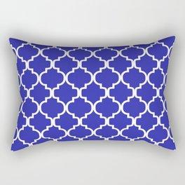 Moroccan Trellis (White & Navy Blue Pattern) Rectangular Pillow