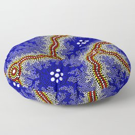 Aboriginal Art Authentic – Water Wetlands Floor Pillow