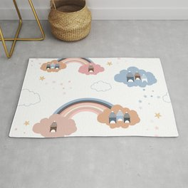Seamless kids pattern with cloud, stars, houses and rainbows Rug