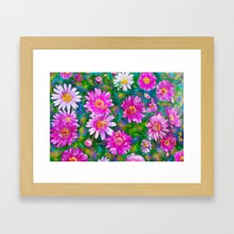 Pink Daisies Flower Party 1 by Jennifer Berdy Framed Art Print