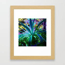 GRACEFUL BLUE-GREEN AGAVE & YELLOW DAISIES FLORAL ART Framed Art Print