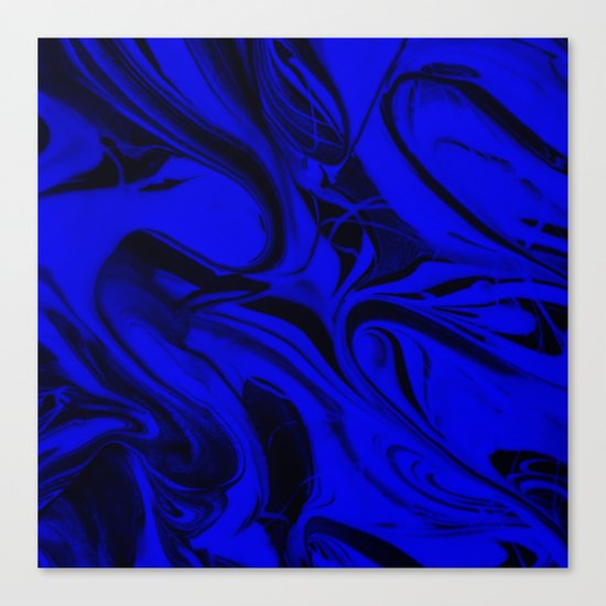Black and Blue Swirl - Abstract, blue and black mixed paint pattern texture Canvas Print