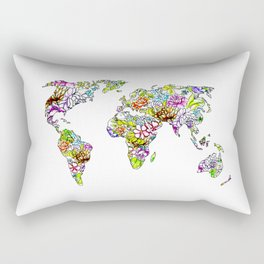 flowers in the world map . artwork Rectangular Pillow