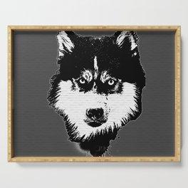 husky dog face grafiti spray art Serving Tray