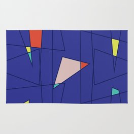 Pattern on a dark background with bright elements and thin lines Rug