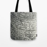 writing Tote Bags featuring ancient writing by Falko Follert Art-FF77