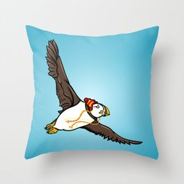 Puffin Wearing A Hat Throw Pillow