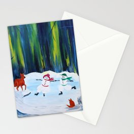 Christmas Night with dancing snowmen Stationery Cards
