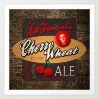 ale giorgini Art Prints featuring Cherry Wheat Ale by La Femina Brewing Co.