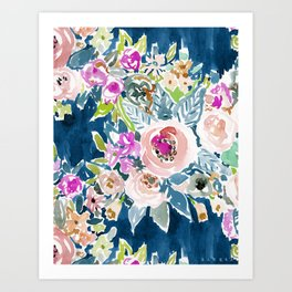 NAVY SO LUSCIOUS Colorful Watercolor Floral Art Print