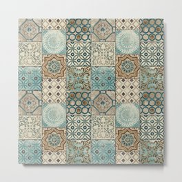 Vintage Old Antique Traditional Moroccan Small Tiles Pattern  Metal Print