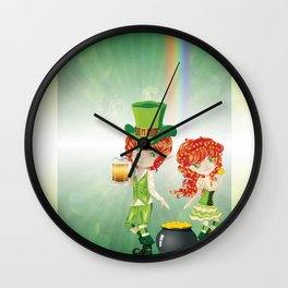 Leprechaun Boy and Girl Wall Clock