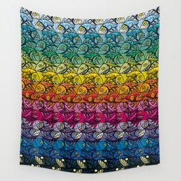 Escher FIsh Rainbow Pattern Wall Tapestry