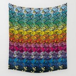 Escher Fish Rainbow Pattern Wall Tapestry