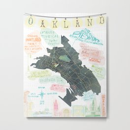Oakland Map Metal Print