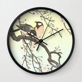Birds with blossom  Wall Clock