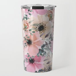 Pink and Peach Watercolor Flowers Travel Mug