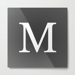 Very Dark Gray Basic Monogram M Metal Print