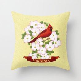 Virginia State Cardinal Bird and Flowering Dogwood Throw Pillow