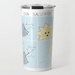 Sun salutation funny comic square panel Travel Mug