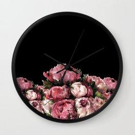 Peony Bouquet - Dark Wall Clock