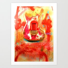 """""""To the Old Gods"""" American contemporary Guitar  painting, prints , music , electric , wall art,decor Art Print"""