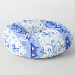 Blue Geometric Scrollwork Floor Pillow
