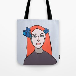 PORTRAIT OF AN IRISH GIRL WITH IRISES  Tote Bag