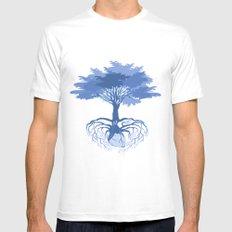 Heart Tree - Blue White Mens Fitted Tee MEDIUM