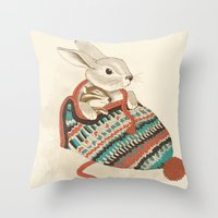 xmas Throw Pillows featuring cozy chipmunk by Laura Graves