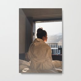 Girl at sunset in Italy Metal Print