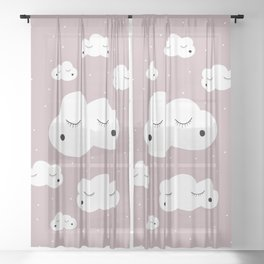 clouds and dots: red Sheer Curtain