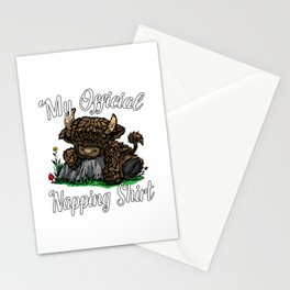Highland Cow Nightgown -  My Official Napping   Stationery Cards