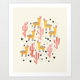 Yellow Llamas Red Cacti Art Print