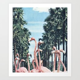 Palm Trees & Flamingos Art Print