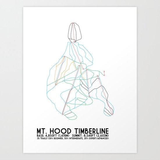 Mt. Hood Timberline, OR - Minimalist Trail Maps Art Print