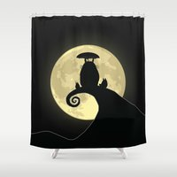nightmare before christmas Shower Curtains featuring Nightmare Before My Neighbor by kamonkey