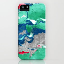 Green red and blue Marble aqrylic Liquid paint art iPhone Case