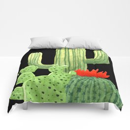 Perfect Cactus Bunch on Black Comforters