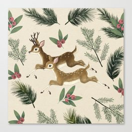 winter deer // repeat pattern Canvas Print