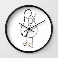 duck Wall Clocks featuring Duck. by Emily Stalley