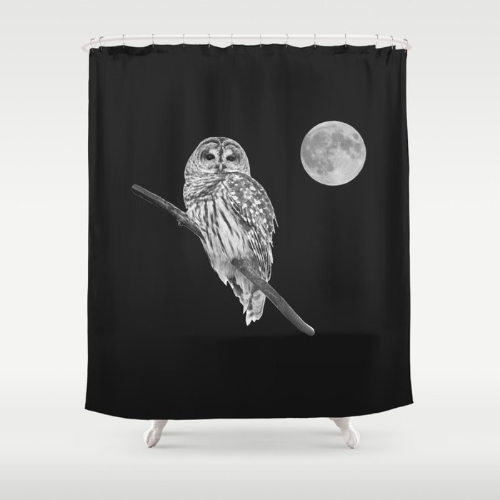 Owl, See the Moon (bw) Shower Curtain