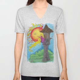 Rapunzel in her Tower Unisex V-Neck
