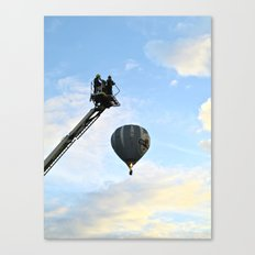 Firemen on their hoist at the Tall Ships Race Waterford 2011 Canvas Print