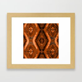 Abstract geometric pattern. Rhombus texture in brown colore Framed Art Print