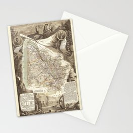 Map Of Bordeaux 1852 Stationery Cards