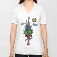castle in the sky V-neck T-shirts featuring Castle in the Sky by Sarah Maurer